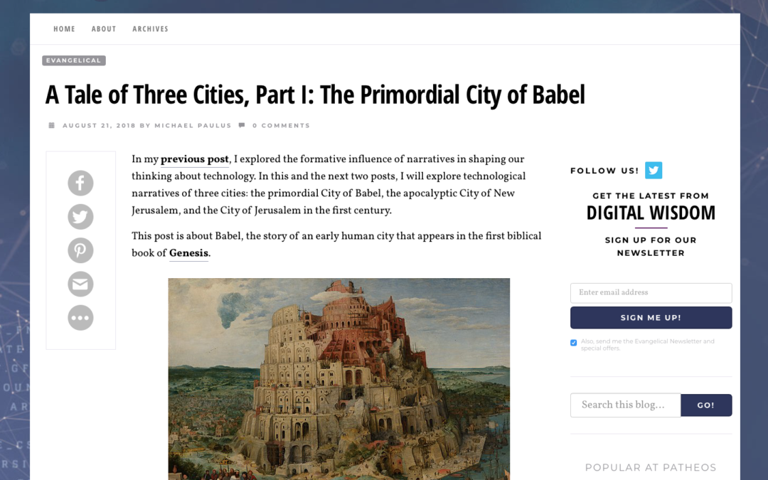 A Tale of Three Cities, Part I: The Primordial City of Babel