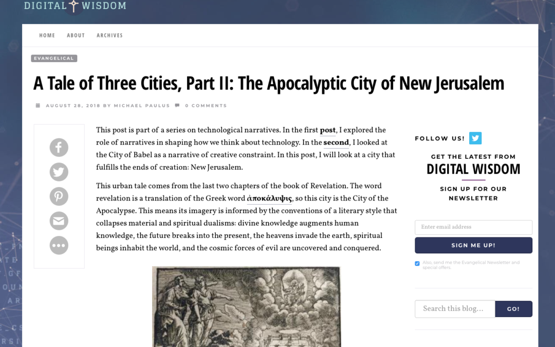 A Tale of Three Cities, Part II: The Apocalyptic City of New Jerusalem