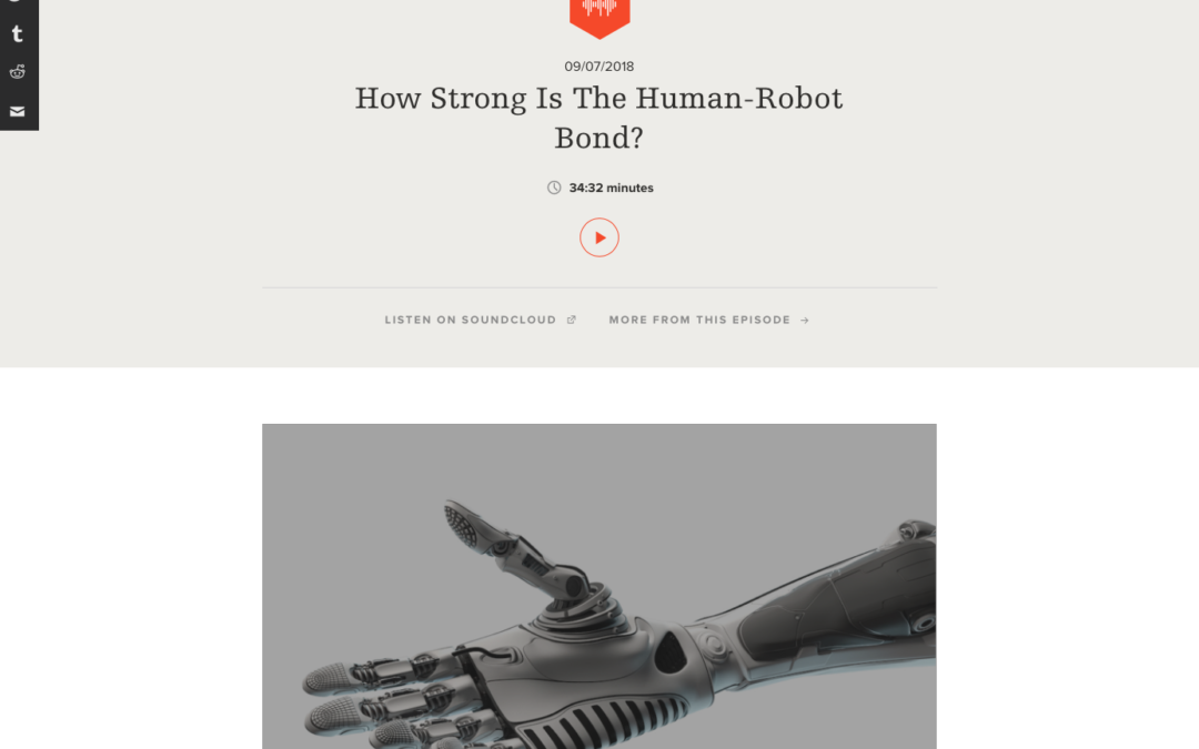 Recommended Listening: Science Friday-How Strong Is The Human-Robot Bond?
